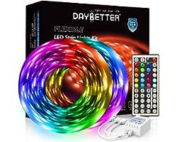 DAYBETTER Led Strip Lights 32.8ft 5050 RGB 300 LEDs Color Changing Lights Strip for Bedroom, Desk, Home Decoration, with Remo
