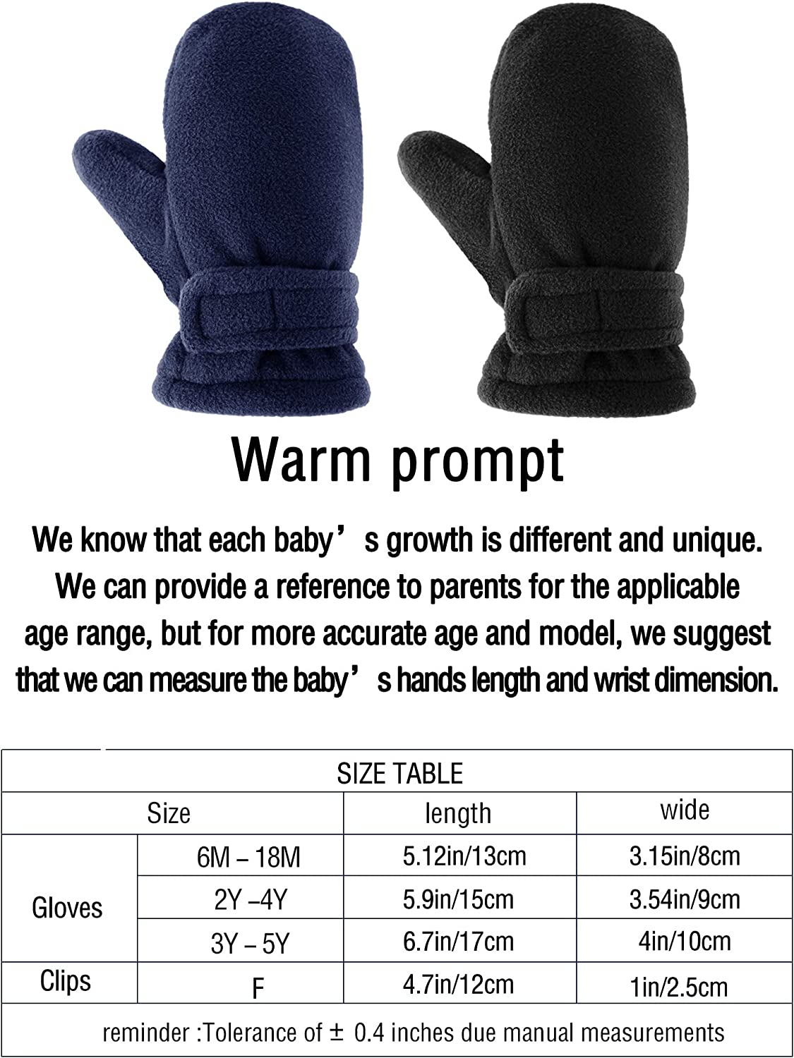 Black, Pink, Aged 6-18 Months 2 Pairs Toddler Baby Winter Mittens Thick Fleece Lined Gloves Warm Easy-on Mittens with 4 Pieces Adjustable Glove Clips