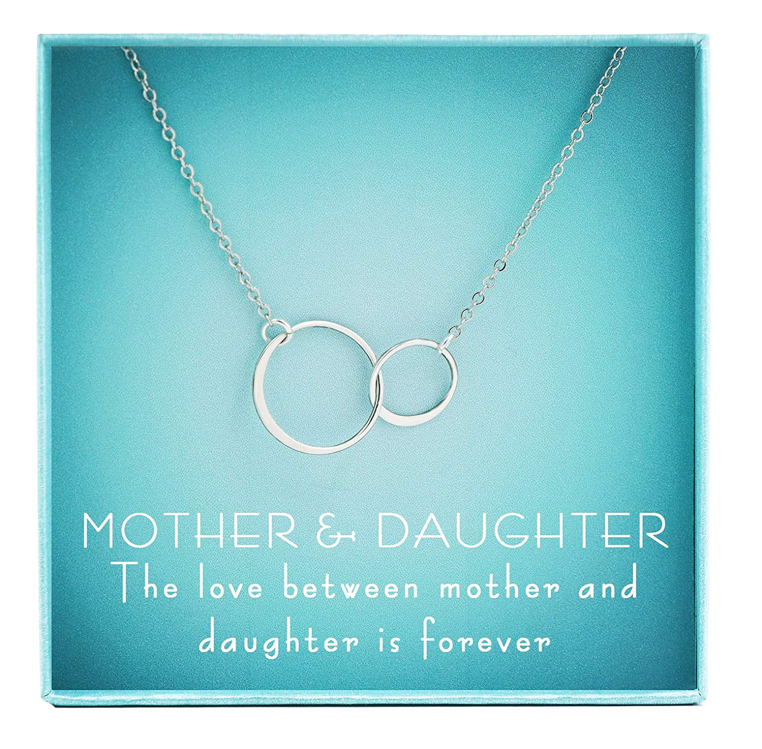 inBLISS 925 Sterling Silver Double Circle Mother Daughter Necklace Interlocking Circles Gift Mom Gift Boxed