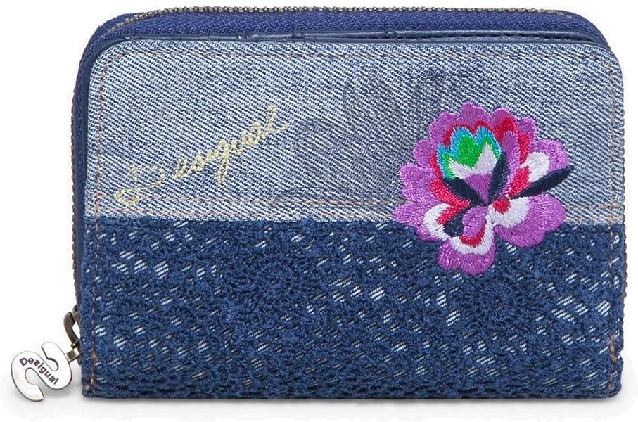 DESIGUAL Geldbörse Portemonnaie Brieftasche Mone Denim Flowers Magnetic 18SAYP46