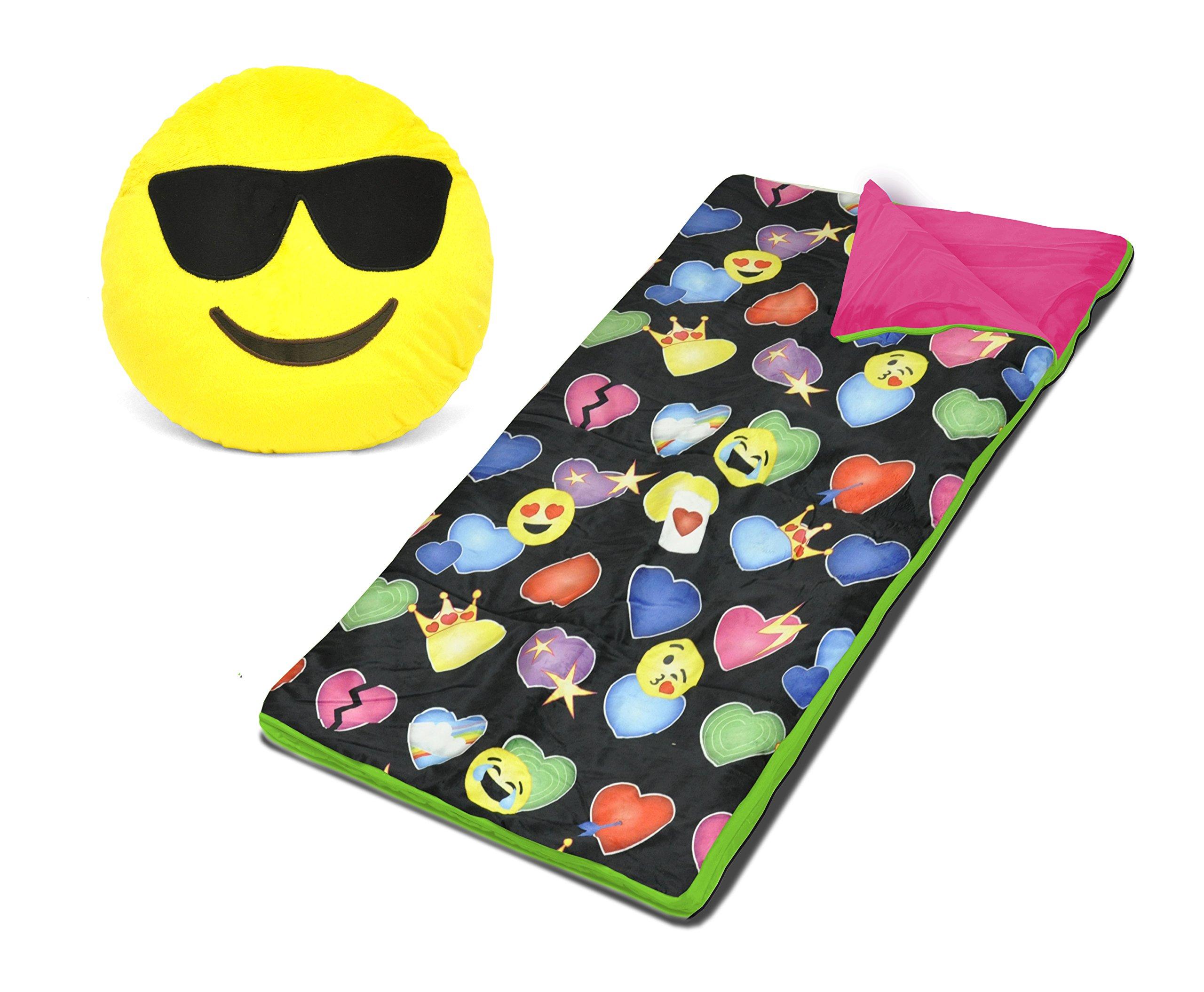 Emoji Pals Sleeping Bag Set, Black, 54''X30''