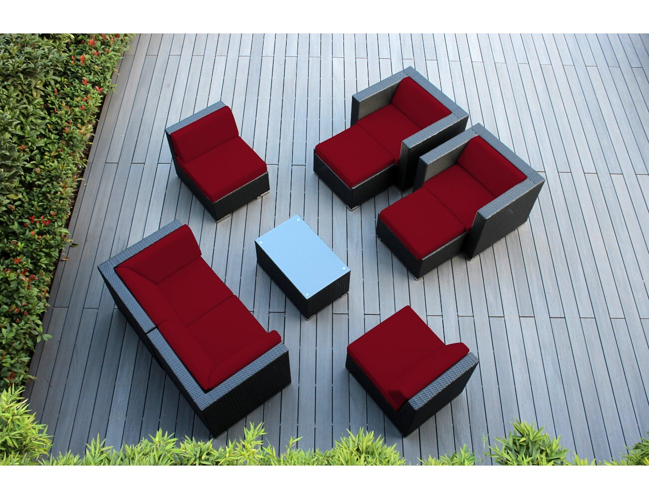 Outdoor wicker patio furniture - Amazon Com Ohana 20 Piece Outdoor Wicker Patio Furniture Sectional Dining And Chaise Lounge Set With Weather Resistant Cushions Red Pnc2005ared