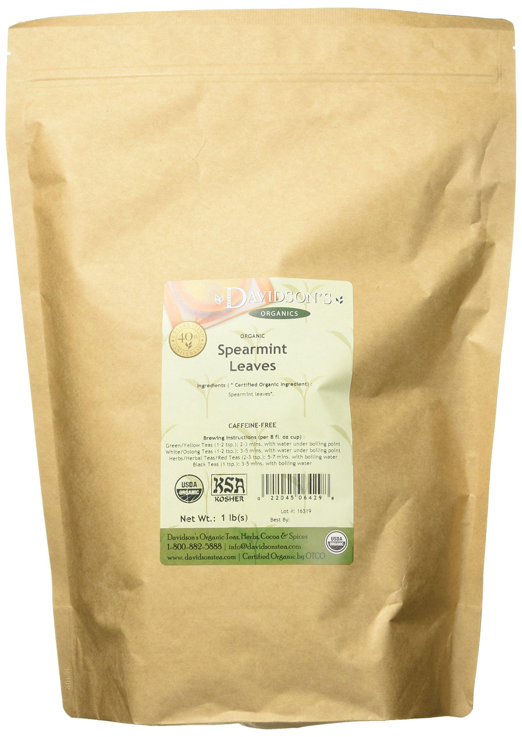 Bulk herbs spices organic organic herbal tea - Davidson S Tea Bulk Organic Spearmint Leaves 16 Ounce Bag
