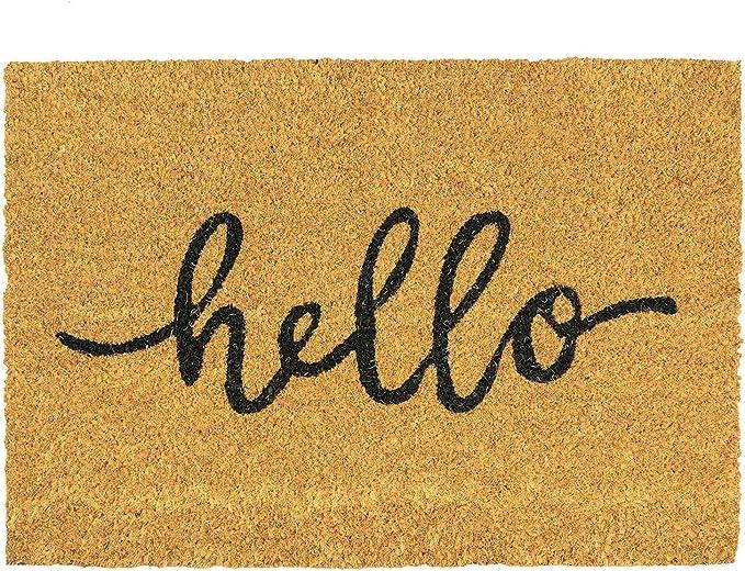 Nicola Spring Non Slip Coir Door Mat 60 X 90cm Hello Pvc Backed Welcome Mats Doormats Amazon Co Uk Kitchen Home