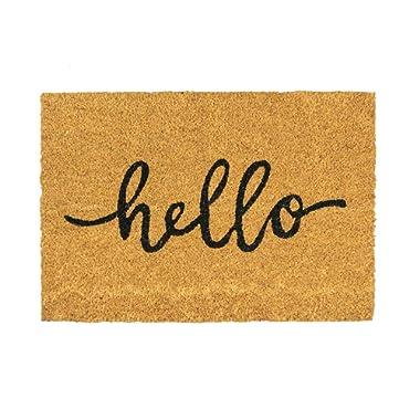 Nicola Spring Hello Design Non-Slip Coir Door Mat, 40 x 60 cm - PVC Backed Welcome Mats Doormats