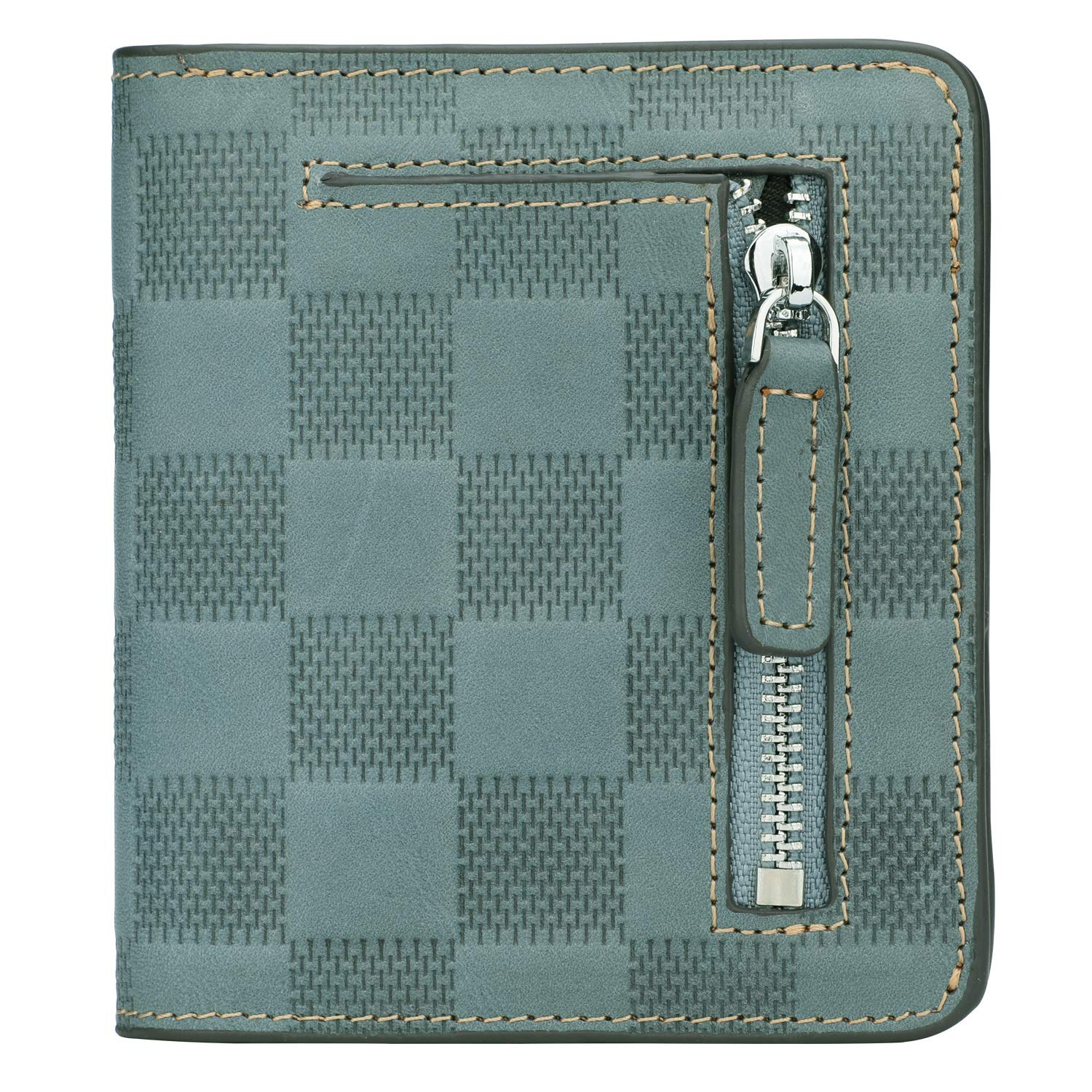 RFID Blocking Wallet Women's Small Compact Bifold Leather Purse Front Pocket Mini Wallet (Checkered Light Blue) by GDTK