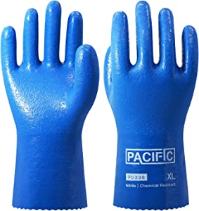 PACIFIC PPE 3Pairs Nitrile Chemical Resistant Work Gloves, Heavy Duty , Cotton Lining, Oil & Gas Industry, Non-slip, Large, Blue
