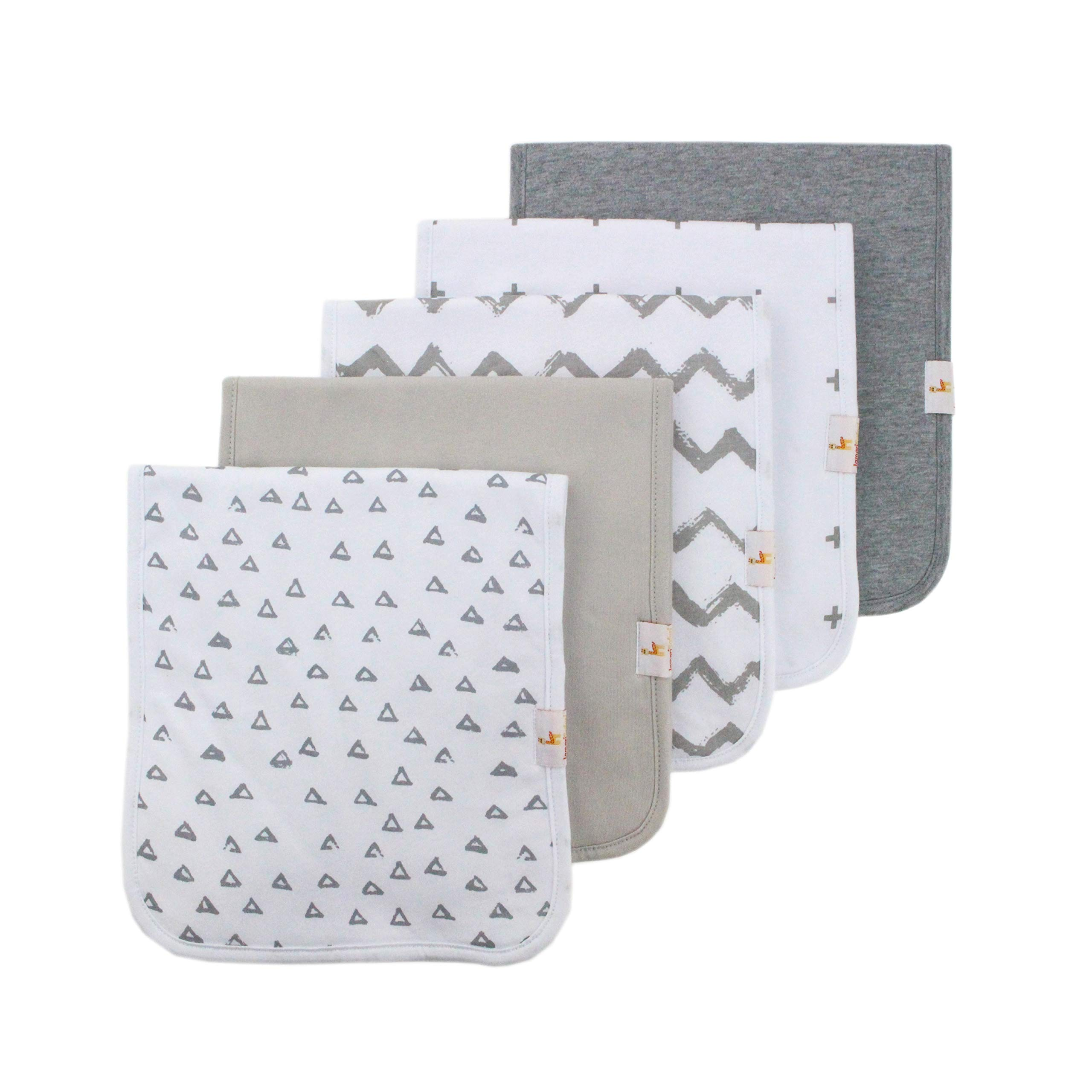 Burp Cloths with Unique Spit Up Catching Pocket (5 Pack 21''x10'') Pre-Shrunk 100% Organic Cotton Baby Burp Cloths Boy or Girl