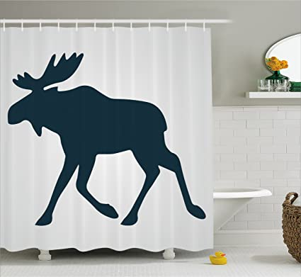 Lunarable Moose Shower Curtain Silhouette Of Wild With Twig Like Antlers Mascot Traditional