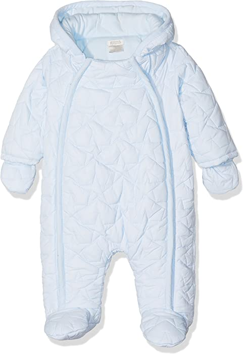 970245767 Mamas and Papas Baby Boys  Blue Quilted Pramsuit Snowsuit