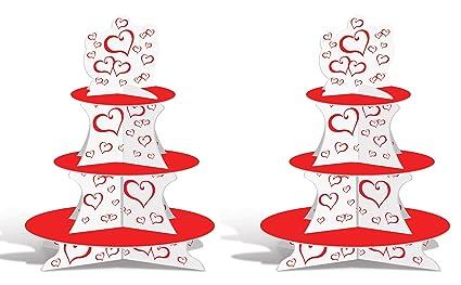 Amazon Beistle 77150 2 Piece Valentine Cupcake Stands 16 White