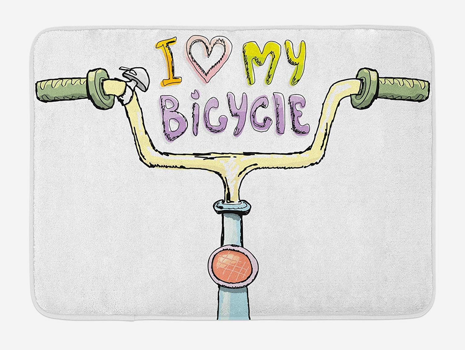 Watercolor Style Hand Drawn Vintage Design I Love My Bicycle Pattern Plush Bathroom Decor Mat with Non Slip Backing,46.8'' W by 70.98'' L