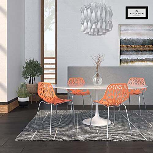 LeisureMod Forest Modern Side Dining Chair with Chromed Legs, Set of 4 Orange