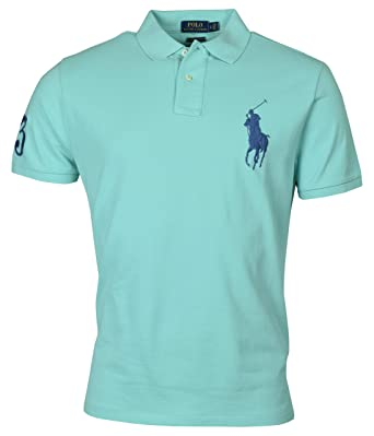 9ddbb969 Polo Ralph Lauren Mens Big Pony Custom Slim Fit Mesh Polo Shirt (Small,  Green