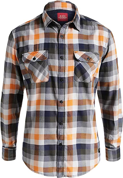 edc by Esprit Kariert-Camisa Hombre, Multicolore (Orange 820) S: Amazon.es: Ropa y accesorios