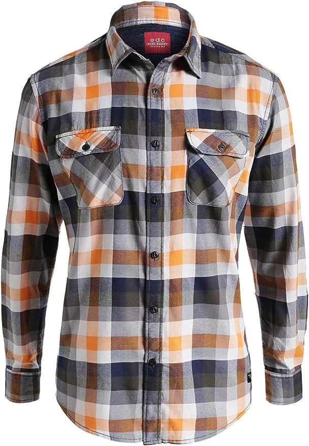 edc by Esprit Kariert-Camisa Hombre, Multicolore (Orange 820) S: Amazon.es: Ropa y accesorios