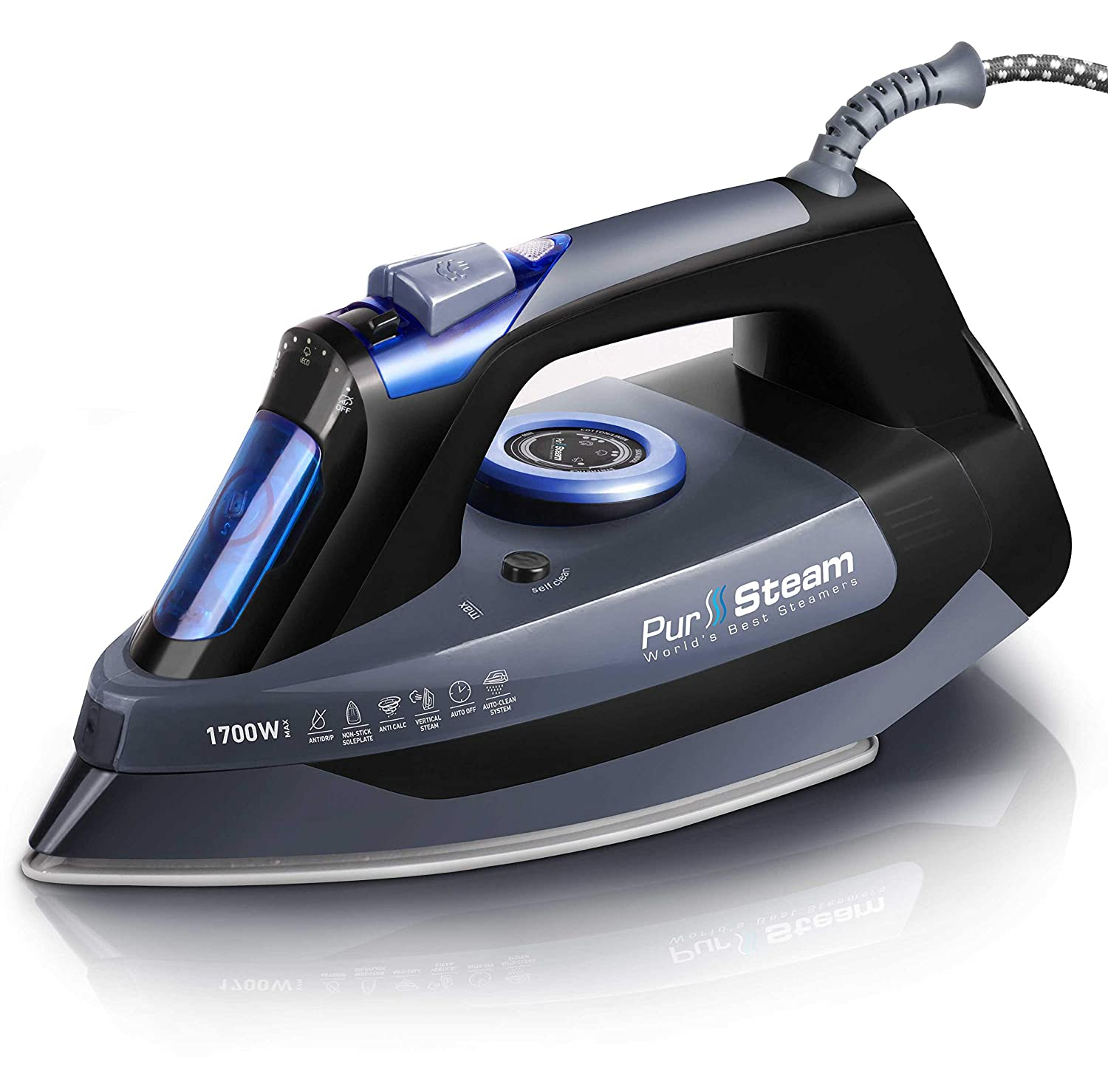 Professional Grade 1700W Steam Iron for Clothes with Rapid Even Heat Scratch Resistant Stainless Steel Sole Plate, True Position Axial Aligned Steam Holes, Self-Cleaning Function + Thermostat Dial