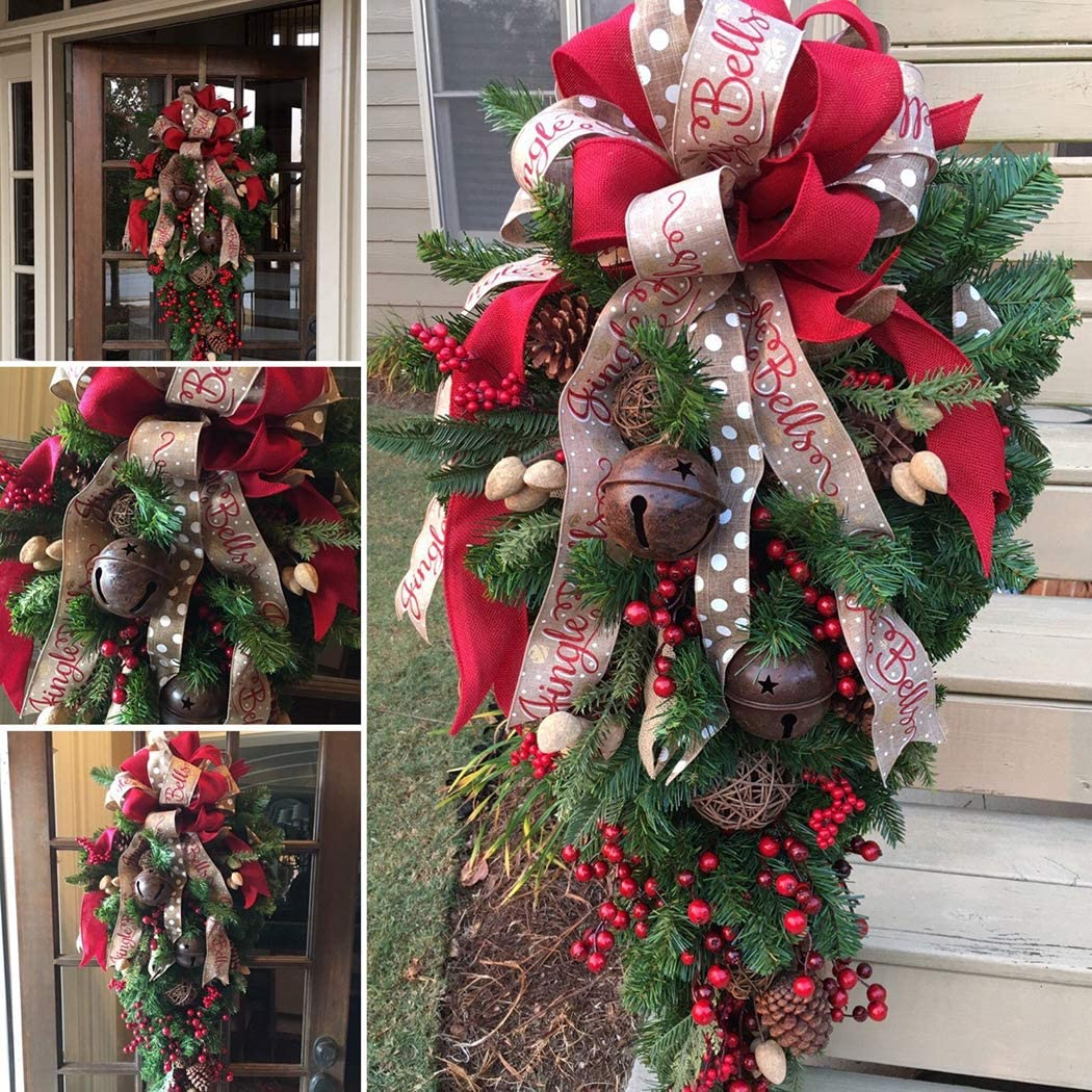 FunPa Christmas Swag Ribbon Teardrop Creative Bell Fruit Wall Decoration for Front Door and Wall Christmas Decoration Ornament
