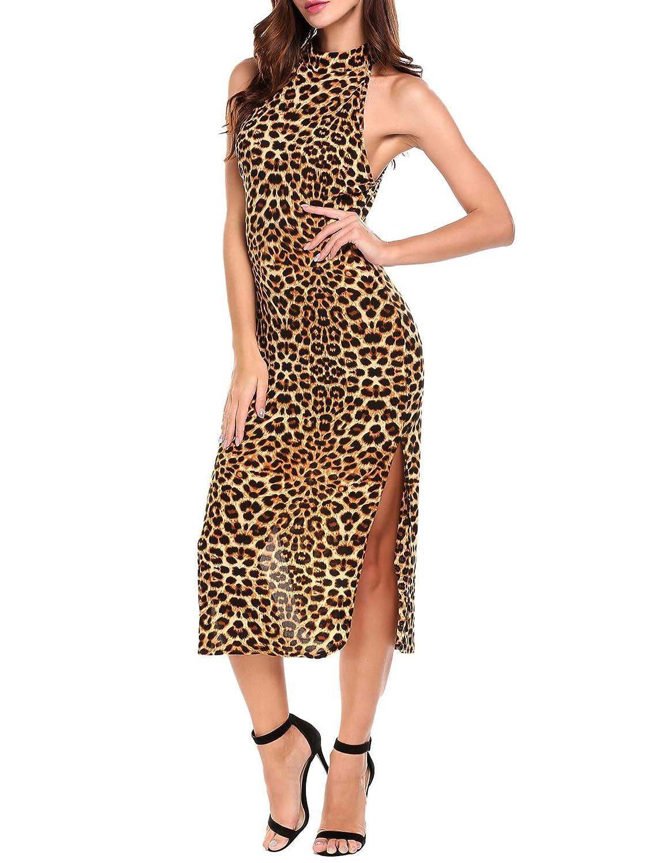 Amazon.com  ANGVNS Women Leopard Print Dress Split Long Casual Cocktail  Party Evening Gowns  Clothing 81a2a8993