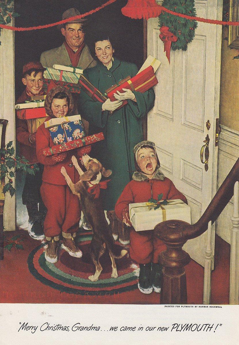 Amazon.com: 1950 Plymouth: Merry Christmas Grandma, Norman Rockwell ...
