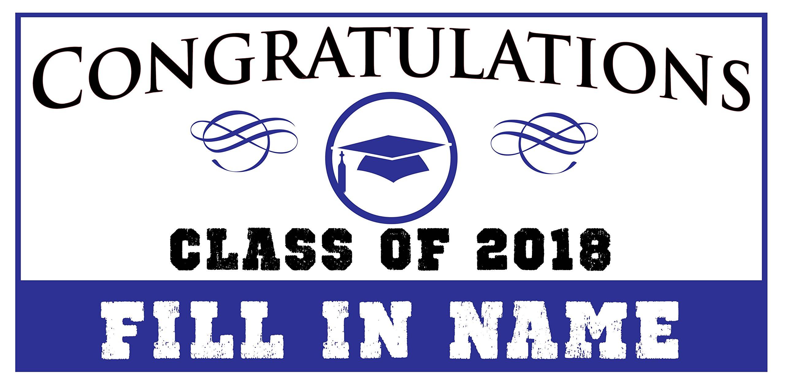 Custom Printed Graduation Banner Congratulations - Hat Blue (10' x 5')