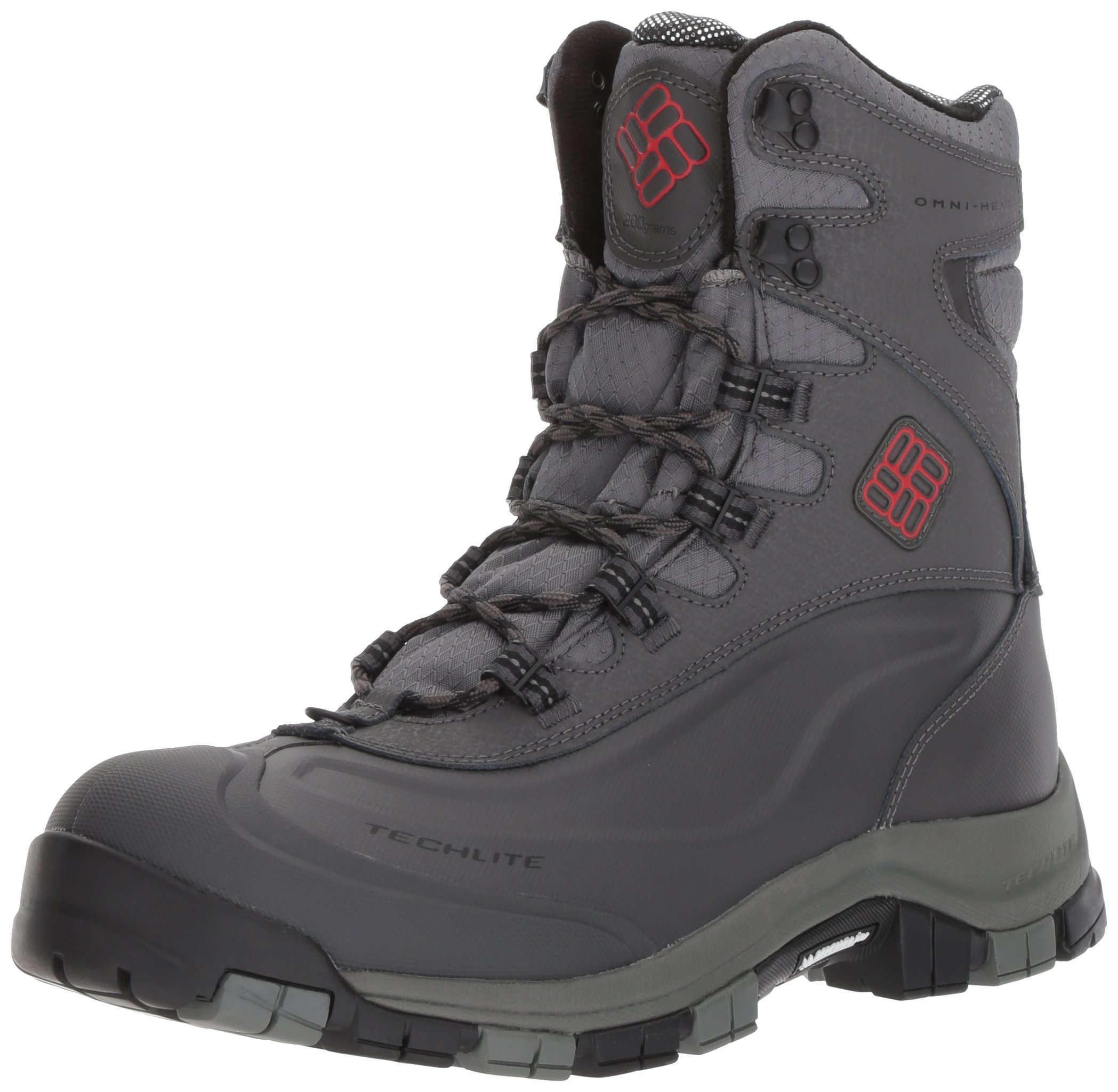 Columbia Men's Bugaboot Plus Omni-Heat Michelin Snow Boot, Charcoal, Bright Red, 8 D US