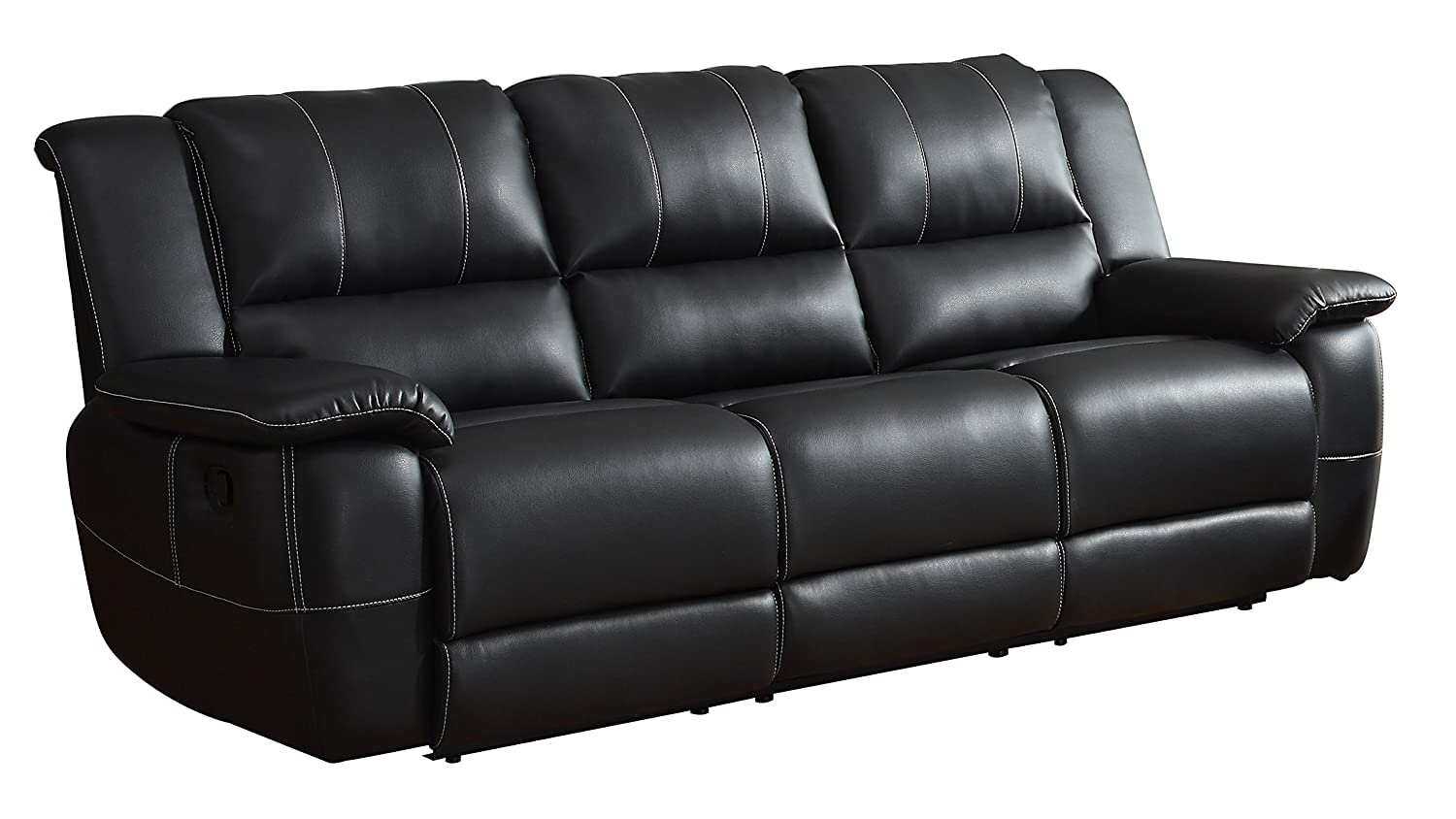 Amazon.com Homelegance Bonded Leather Black Double Reclining Sofa Kitchen u0026 Dining  sc 1 st  Amazon.com & Amazon.com: Homelegance Bonded Leather Black Double Reclining Sofa ... islam-shia.org