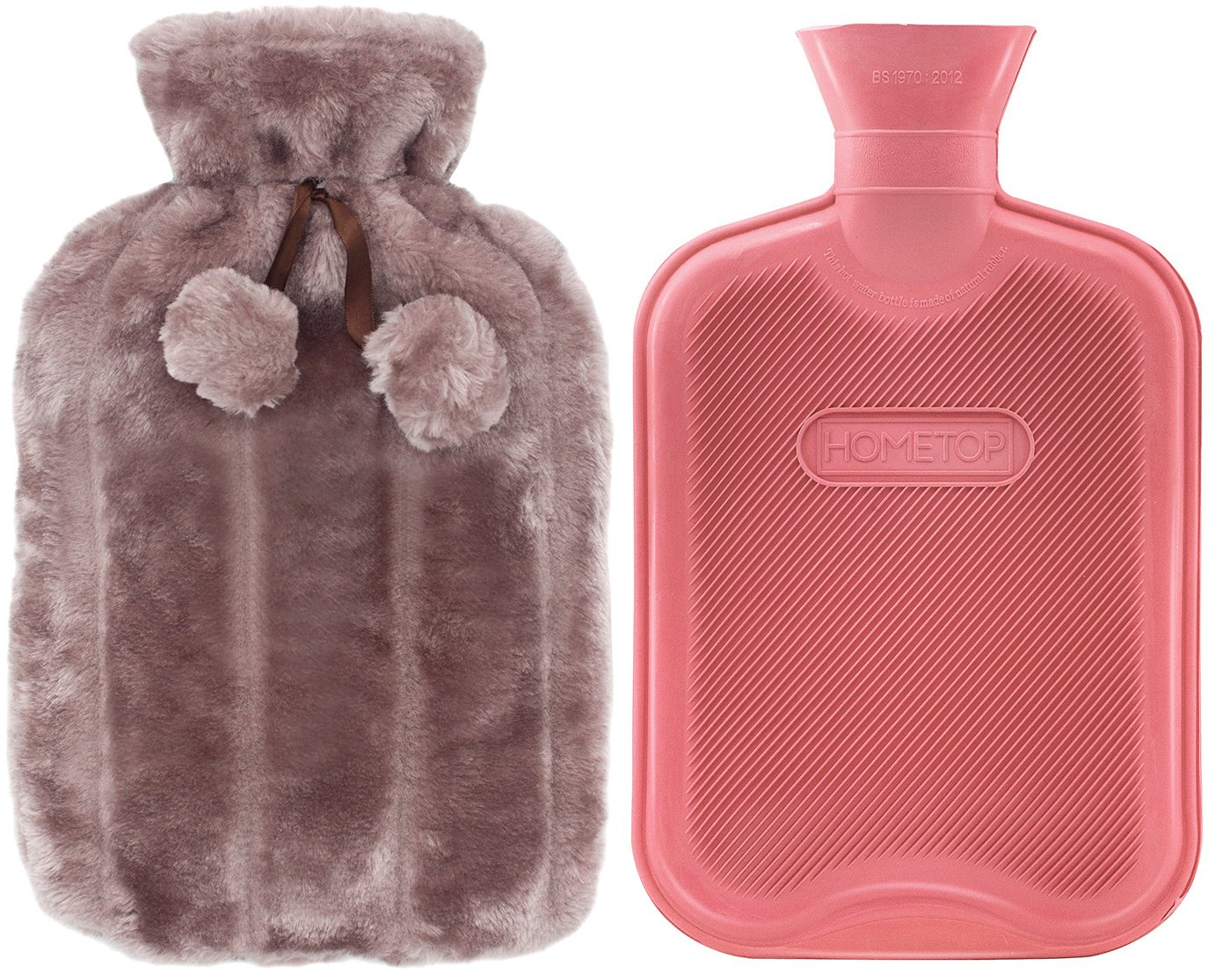Premium Classic Rubber Hot Water Bottle and Luxurious Faux Fur Plush Fleece Cover w/Pom Pom Decor (Nude Pink) by HomeTop