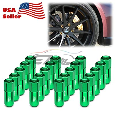 EZAUTOWRAP Green 20 PCS M12x1.25 Lug Nuts 60mm Extended Tuner Aluminum Wheels Rims Cap WN02: Automotive