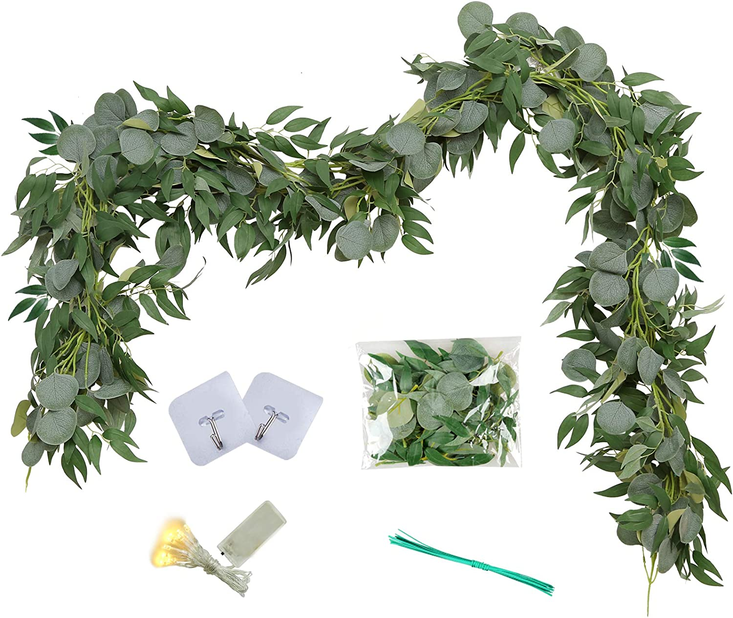 Greentime 2 Pack 6.5 Feet Artificial Silver Dollar Eucalyptus Leaves Garland with Willow Vines Leaves Greenery Garland for Wedding Table Runner Centerpiece Arch Bridal Baby Shower Decor