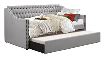 homelegance sleigh daybed with tufted back rest and nail head accent twin grey