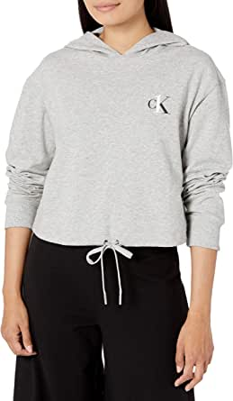 Calvin Klein Women's CK One French Terry Cropped Long Sleeve Hoodie