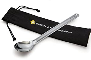 finessCity Longest Titanium Long Handled Spoon It's 9.65 inch/ 245mm Long Spoon with Bigger Polished Bowl, Titanium Spoon Comes with Waterproof Case