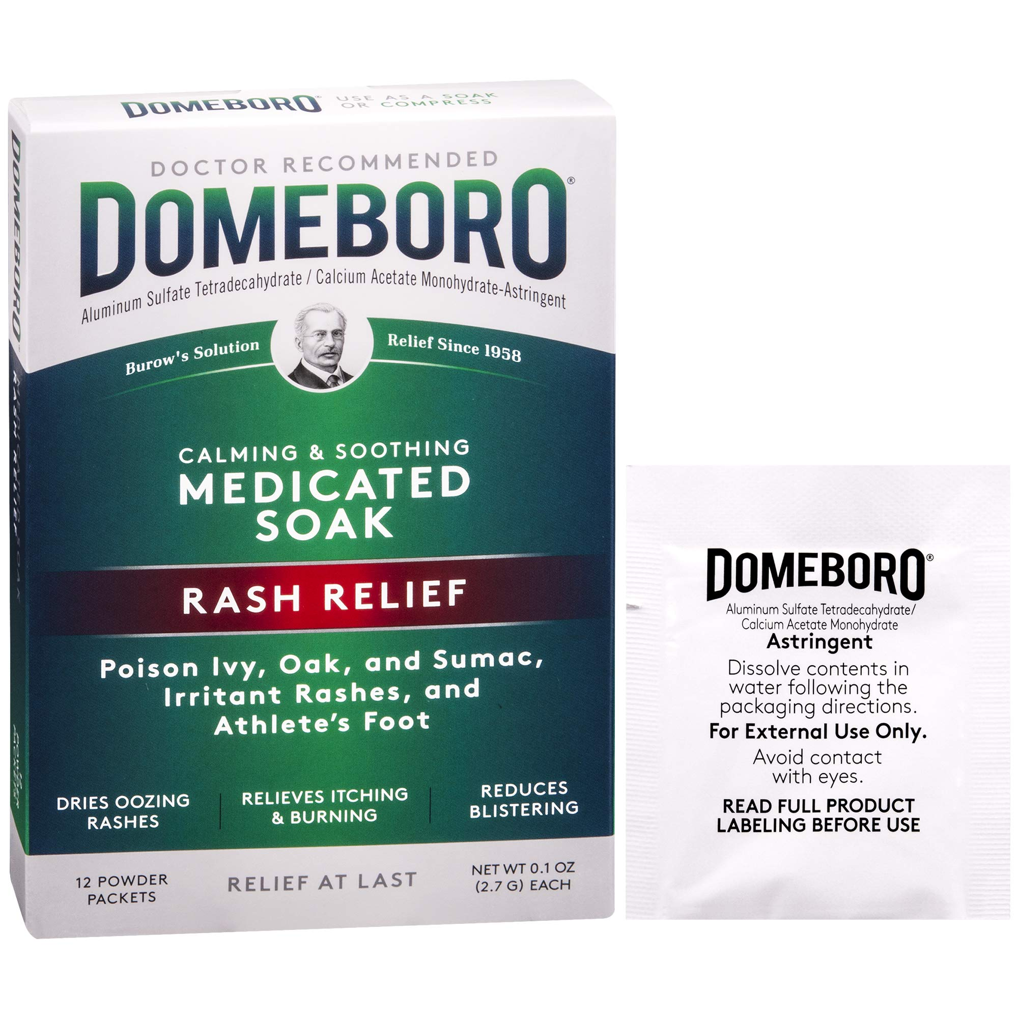 Domeboro Medicated Soak Rash Relief (Burow's Solution) 12 Powder Packets by Domeboro