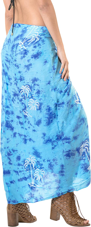 LA LEELA Swimsuit Cover-Up Sarong Beach Wrap Skirt Hawaiian Sarongs for Women Plus Size Large Maxi EC