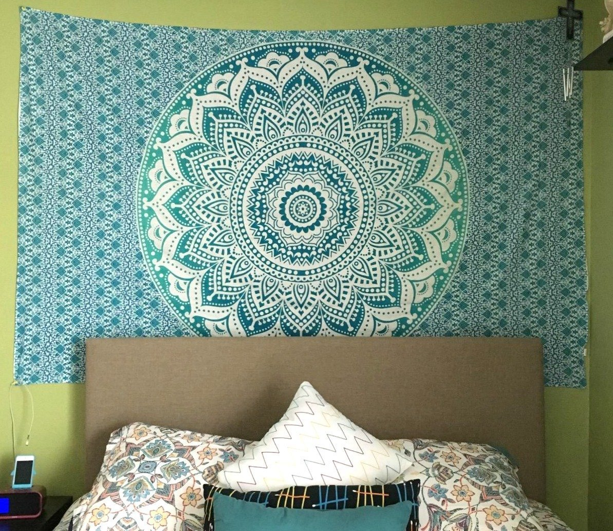 Exclusive Twin Green Ombre Tapestry by JaipurHandloom Ombre Bedding, Mandala Tapestry, Multi Color Indian Mandala Wall Art Hippie Wall Hanging Bohemian Bedspread by Jaipur Handloom