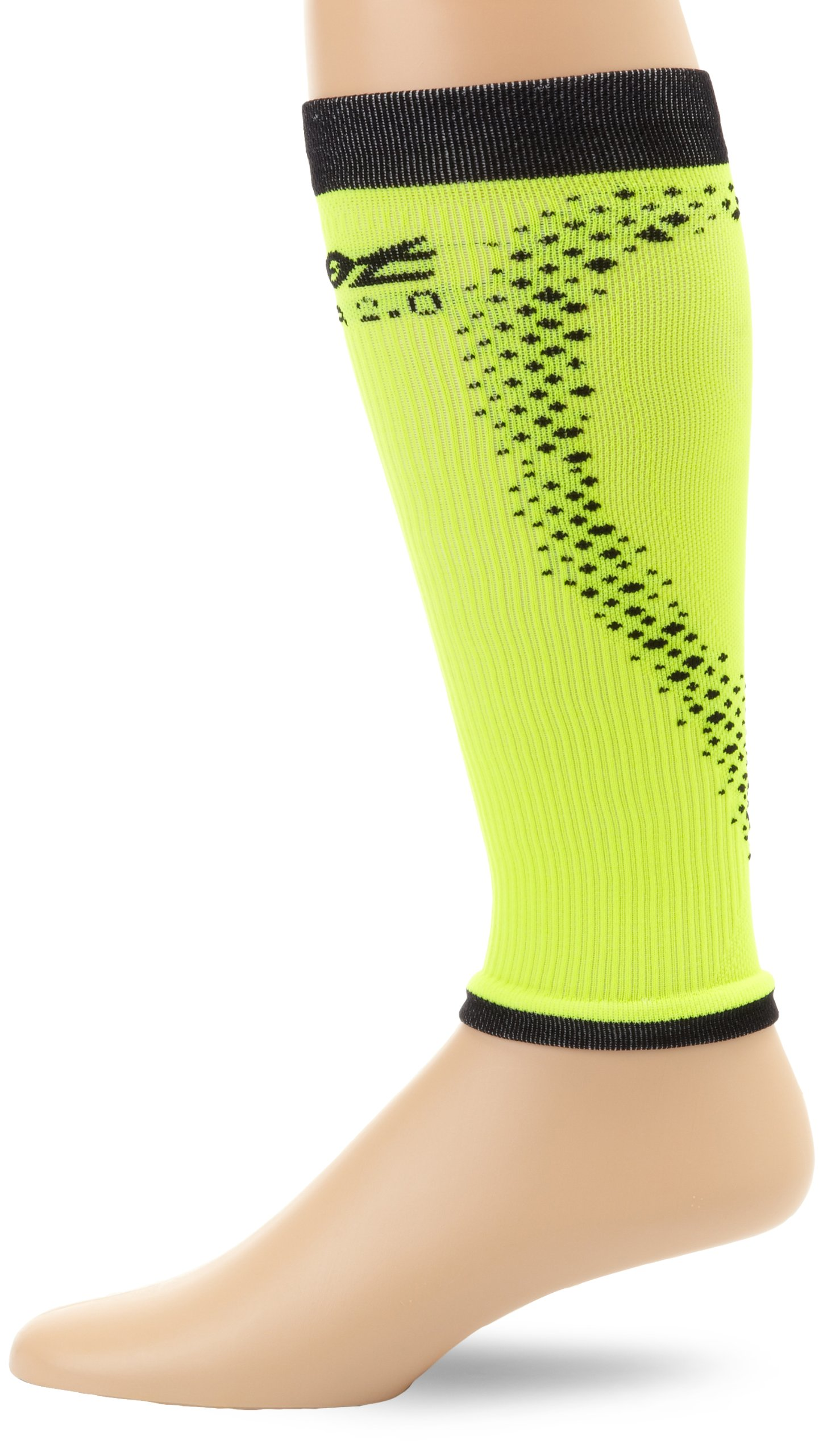 Zoot Sports Men's Ultra 2.0 CRX Calf Sleeve, Black/Safety Yellow, 3