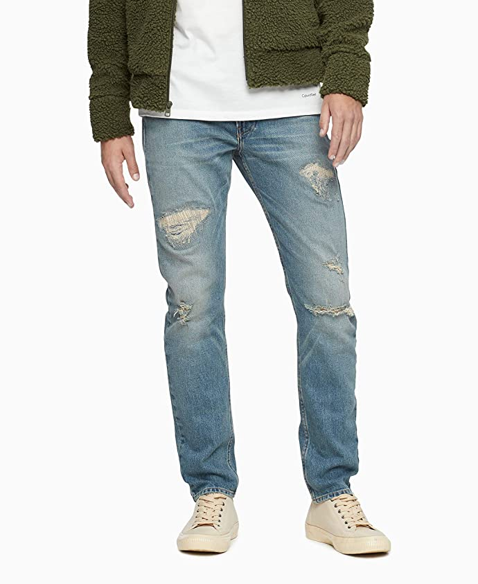Calvin Klein 卡尔文克莱因 CK 修身款 破洞 男式牛仔裤 3.4折$29.93 海淘转运到手约¥256