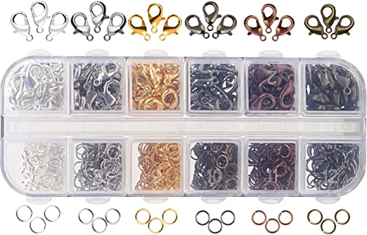 6 Colors Lobster Claw Clasps and 6 Open Jump Rings for Jewelry Making 12...