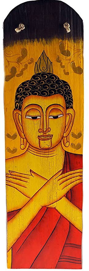 Large 45cm Thai Buddha Wooden Wall Hanging Art Plaque Picture ...