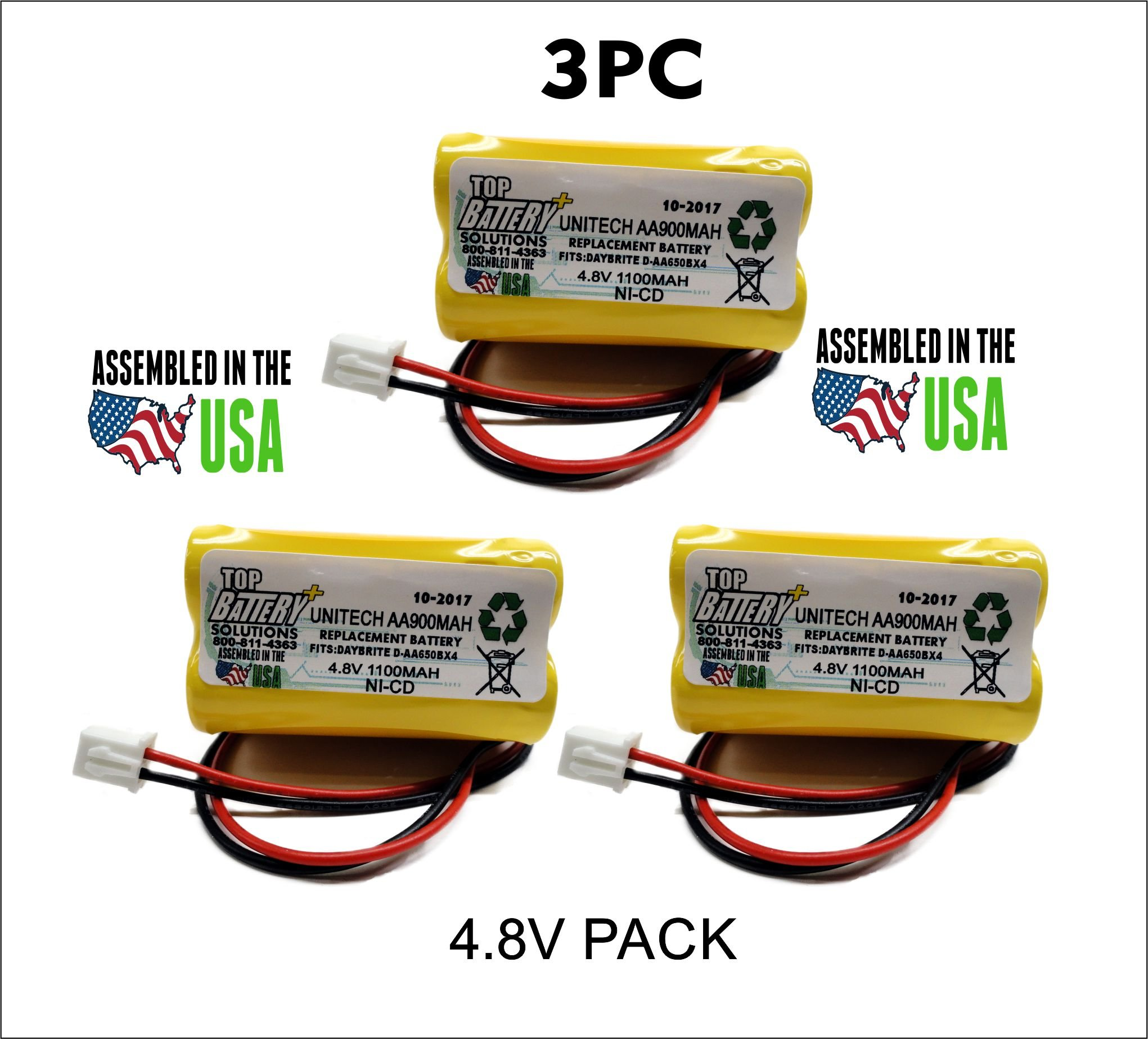 3pc Unitech Ni-CD AA900mAh 4.8V Replacement Battery by TOP BATTERY SOLUTIONS