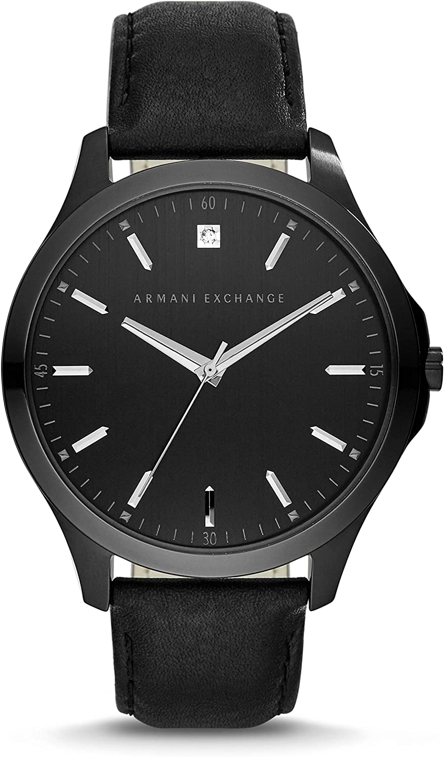 A:X Men's Black Leather Watch AX2171