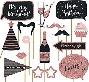 Fully Assembled Birthday Photo Booth Props. 30 Piece Box Set of Rose Gold and Pink Selfie Party Supplies and Decorations Kit with Real Glitter Cute Bday Designs For Women - Did we mention no DIY?