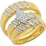 Dazzlingrock Collection 0.40 Carat (ctw) Round White Diamond Mens & Womens Wedding Ring Trio Set, 18K Yellow Gold Plated…