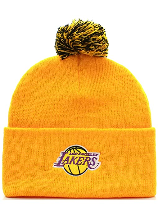 Amazon.com   NBA Los Angeles Lakers Basketball Pom Pom Beanie Knit ... 225f155d4c8