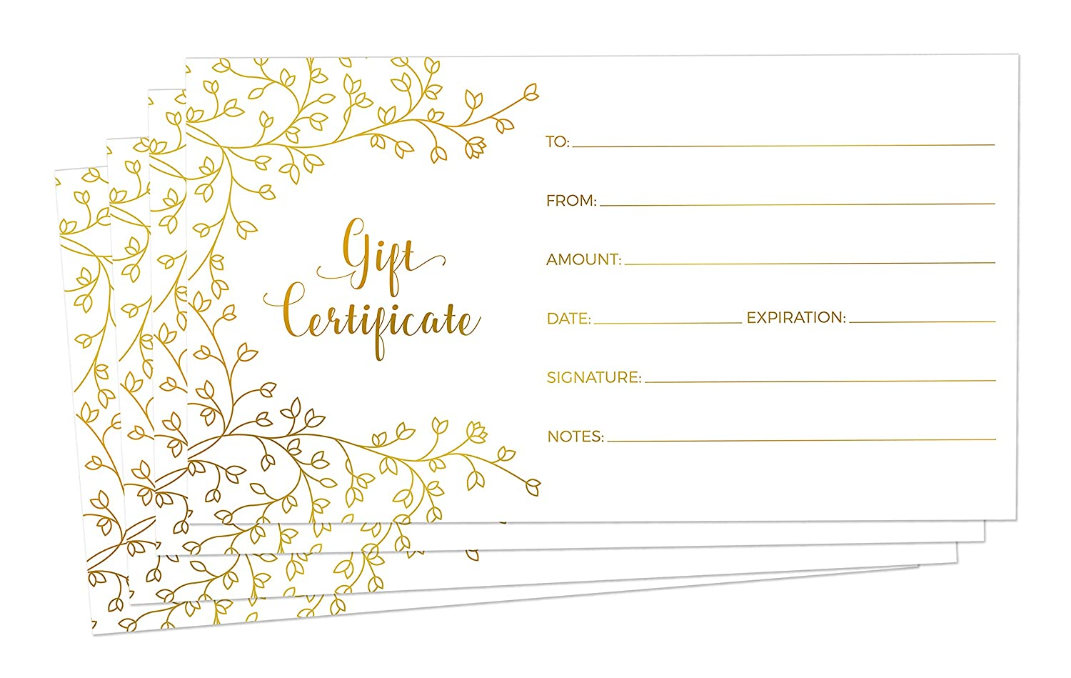 Blank Gift Certificates for Business - 25 Gold Foil Gift Certificate Cards with Envelopes for Spa, Salon, Restaurants, Custom Client Vouchers for Birthday, Work Gift Card - 3.75x7.5""