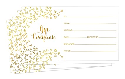 amazon com blank gift certificates for business 25 gold foil
