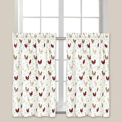Cackleberry Home Farmhouse Chicken Cafe Curtains 28 Inches W x 31 Inches L,  Set of 2