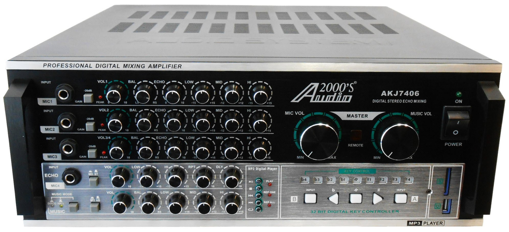 Audio2000'S AKJ7406 Professional Mixing Amplifier with Digital Echo & Key Control, 1000W