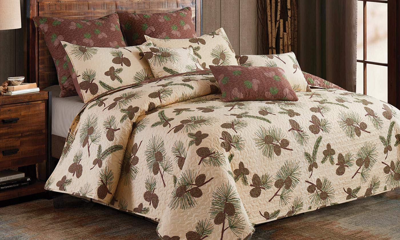Virah Bella Forest Pines 3pc King Size Quilt and Pillow Shams Set